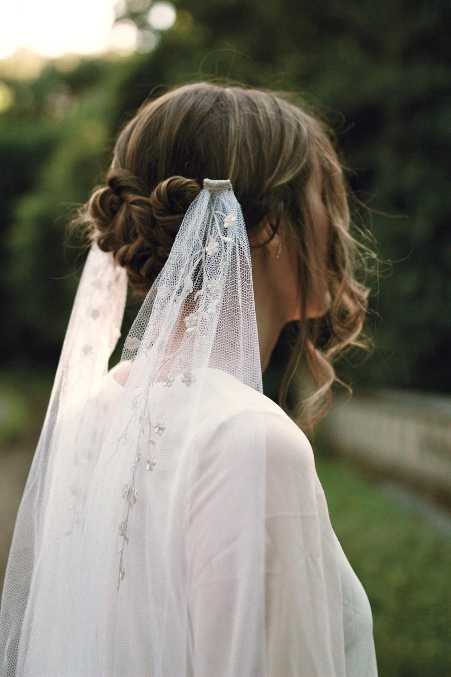 Wedding - Embroidered bridal veil, White wedding veil, Cathedral length veil, Draping veil, Ethereal headpiece, Silver bridal head piece, floral veil