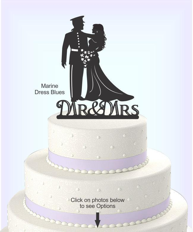 Wedding - Wedding Cake Topper, Military Uniform, Marine, Army, Navy, Airforce, Acrylic Cake Topper[CT9m]