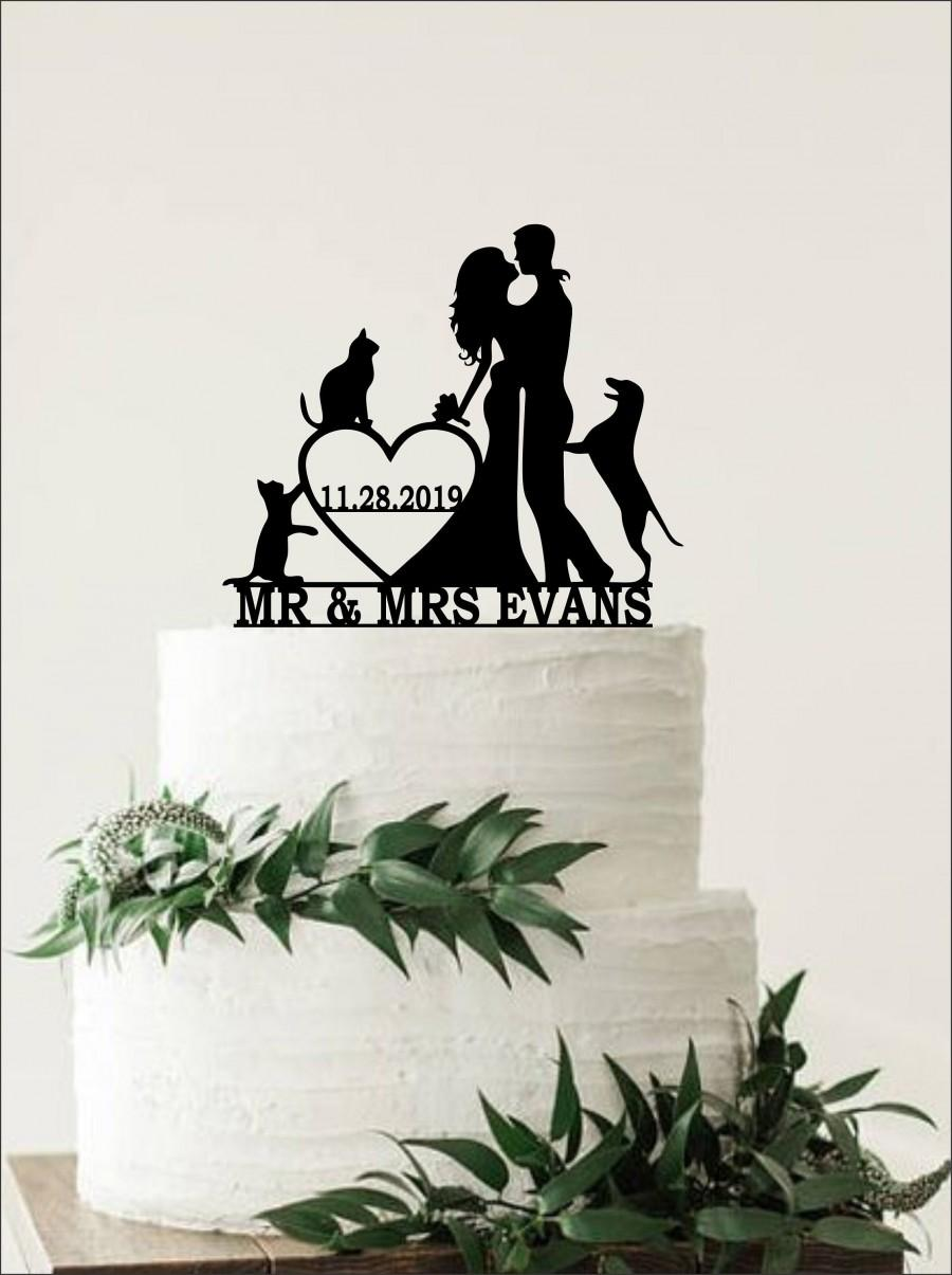Wedding - silhouette Cake Topper Dog & Cat  Cake Topper Couple Cake Topper  Wedding Cake Topper  Gold Cake Topper wedding decorations, dog topper