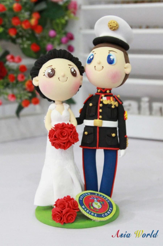 Hochzeit - US Marine wedding cake topper, US Marine Corps logo clay miniature