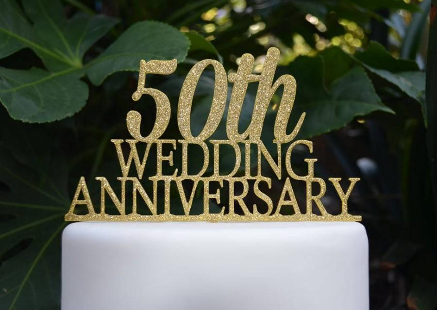 Свадьба - 50th Wedding Anniversary Cake Topper - Assorted Colours