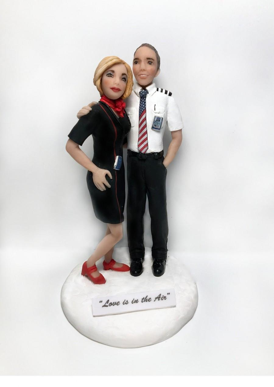 Wedding - Pilot and Stewardess Cake Topper Custom from your ideas and photos