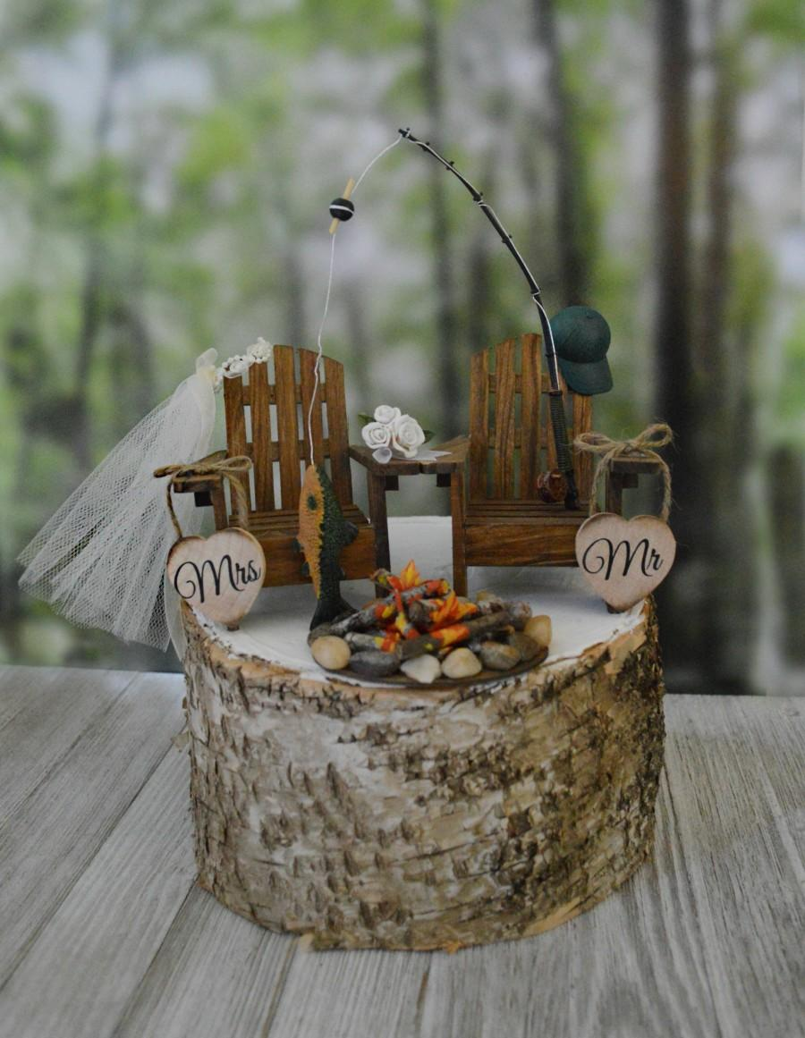 زفاف - Fishing pole fishing themed wedding cake topper camping fishing hunting rustic country campfire Adirondack chairs lake house bride groom