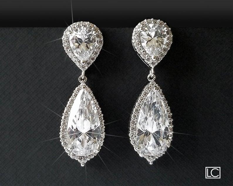 Wedding - Cubic Zirconia Bridal Earrings, Teardrop Crystal Earrings, Chandelier Wedding Earrings, Halo Silver Sparkly Earrings, Crystal Bridal Jewelry