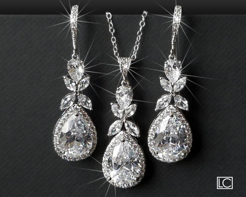 Wedding - Crystal Bridal Jewelry Set, Cubic Zirconia Earrings&Necklace Set, Wedding Jewelry Set, Teardrop Crystal Set, Chandelier Earrings Pendant Set