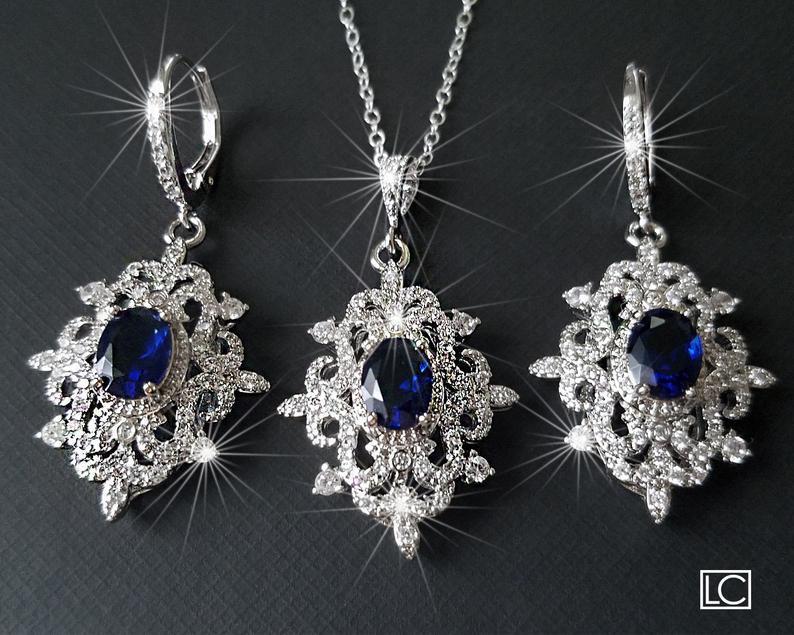 Wedding - Bridal Jewelry Set, Wedding Earrings&Necklace Set, Navy Blue Silver Halo Jewelry Set, Vintage Bridal Jewelry Sapphire Blue Victorian Jewelry