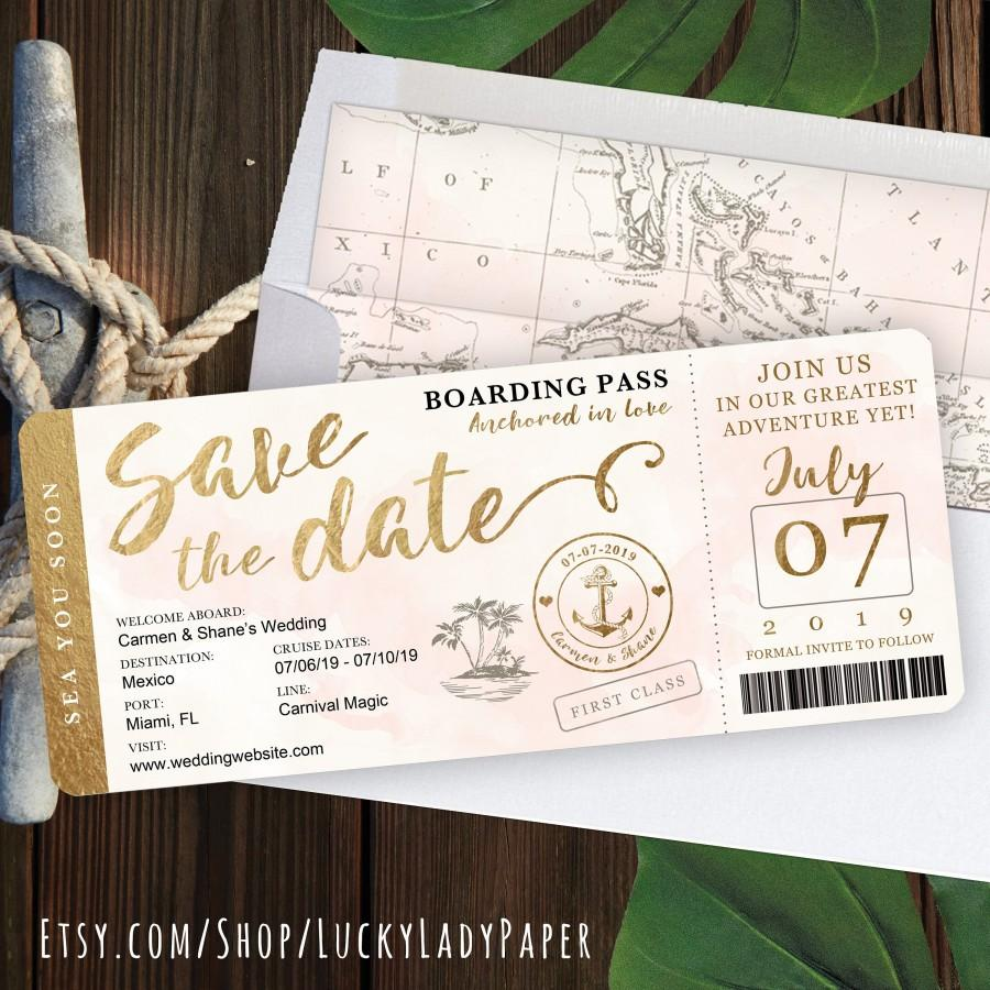 Wedding - Destination Wedding Boarding Pass Save the Date Invitation in Gold and Blush Watercolor Nautical Cruise Design by Luckyladypaper