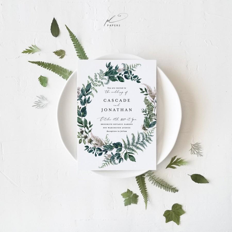 Wedding - Botanical Woodland Wedding Invitation Template Printable Greenery Wreath DIY Instant Download Editable Rustic Garden Invite Cascade Templett
