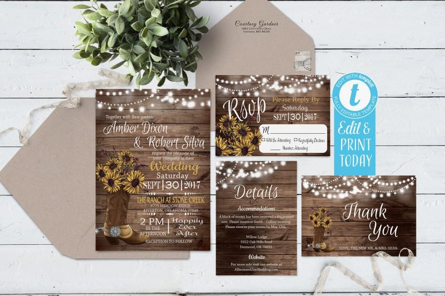 Wedding - Sunflower Rustic Wedding Invitation Suite Instant Download, Cowboy Boot Wedding Invite Digital, Printable Country Wedding Invite Editable