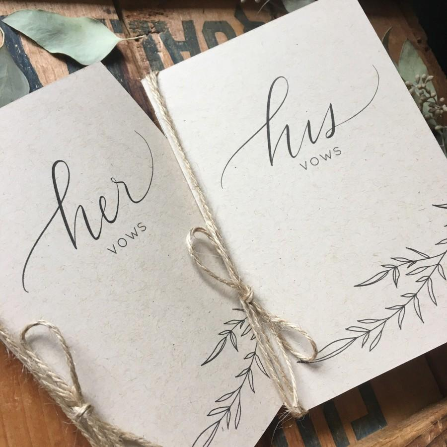 Wedding - His and Her Vow Cards - Vow Card Keepsakes - Bride and Groom Vow Books - Rustic Vow Cards