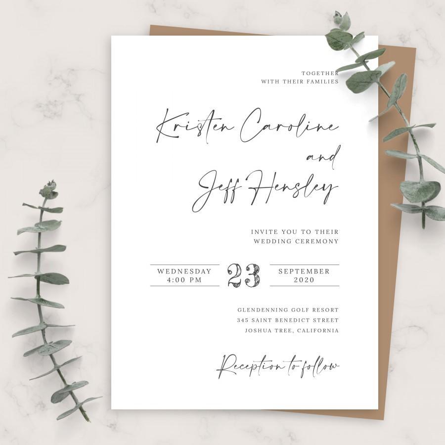 Wedding - Simple Minimalist Calligraphy Wedding Invitation, Printable Wedding Invites Template, Editable Invitation, PDF, JPG, PNG