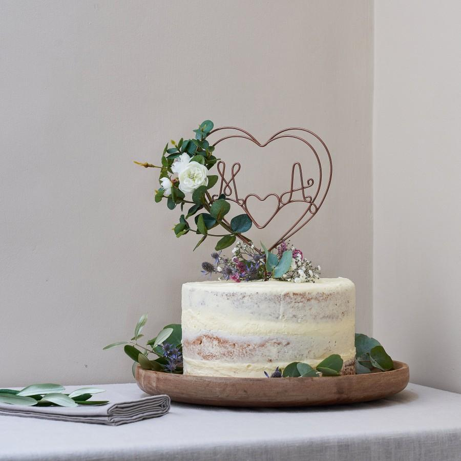 زفاف - Eucalyptus and Rose Personalised Cake Topper