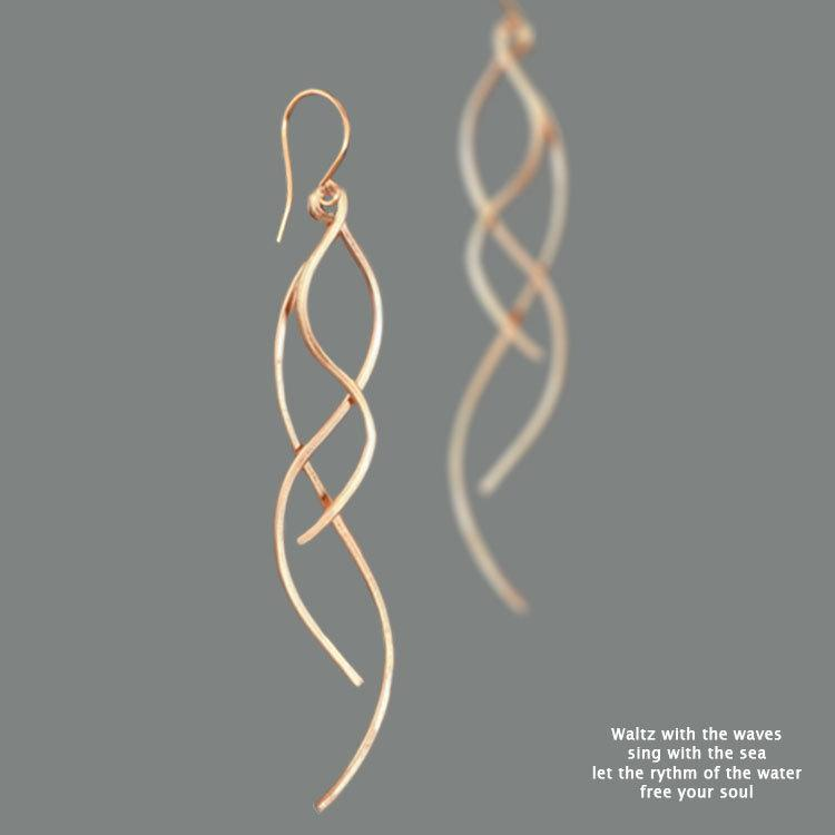 Wedding - 14k Rose gold filled, Dangle earrings, Spiral earrings, Long earrings, Handmade jewelry, Wedding gifts, Gift for her, Free US Shipping