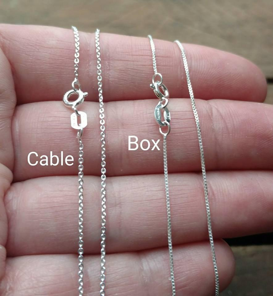 Wedding - Sterling Silver Chain, Completed Chain, Cable Chain, Box Chain, Plain Chain, Sterling Silver, Necklace, Women's, Solid 925 Sterling Silver