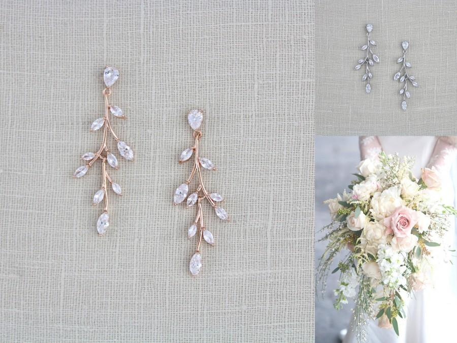 زفاف - Rose gold Bridal earrings Bridal jewelry Long CZ drop Wedding earrings Dainty Rose gold leaf earrings Rose gold Wedding jewelry APRILLE