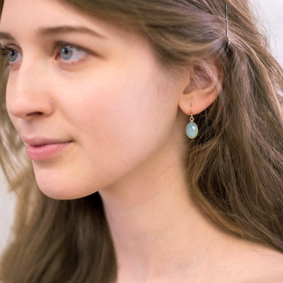 Wedding - Simple Aquamarine Gemstone Earrings, Modern Bride, Bridesmaid Thank you, March Birthstone Jewelry, Gift for Friend, Minimalist Earrings