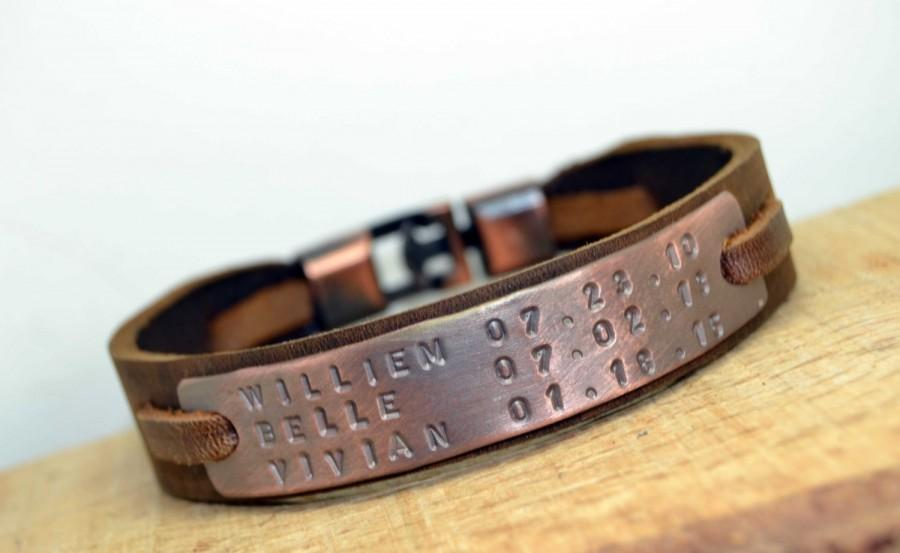 Wedding - FREE SHİPPİNG Men Personalized Leather Bracelet,Husband gift,ID Bracelet,Fathers day gift, Graduation gift,Valentines day Gift,Gift ideas