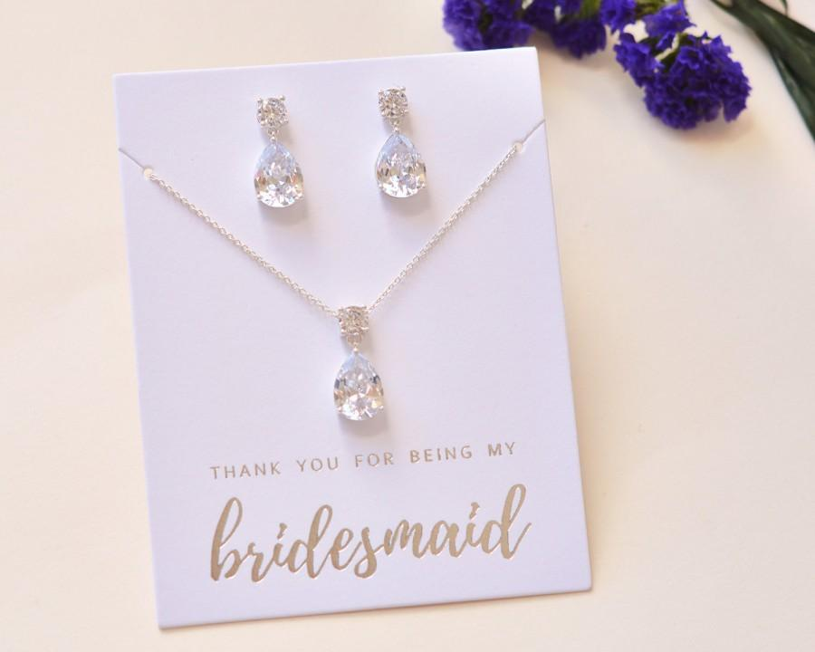 Mariage - Bridesmaid Jewelry Set, CZ  Jewelry, Bridesmaid Gift, MOH Gift, Wedding Jewelry,Bridal Party Gift, Bridesmaid Jewelry, Wedding ~ JS-1686-S
