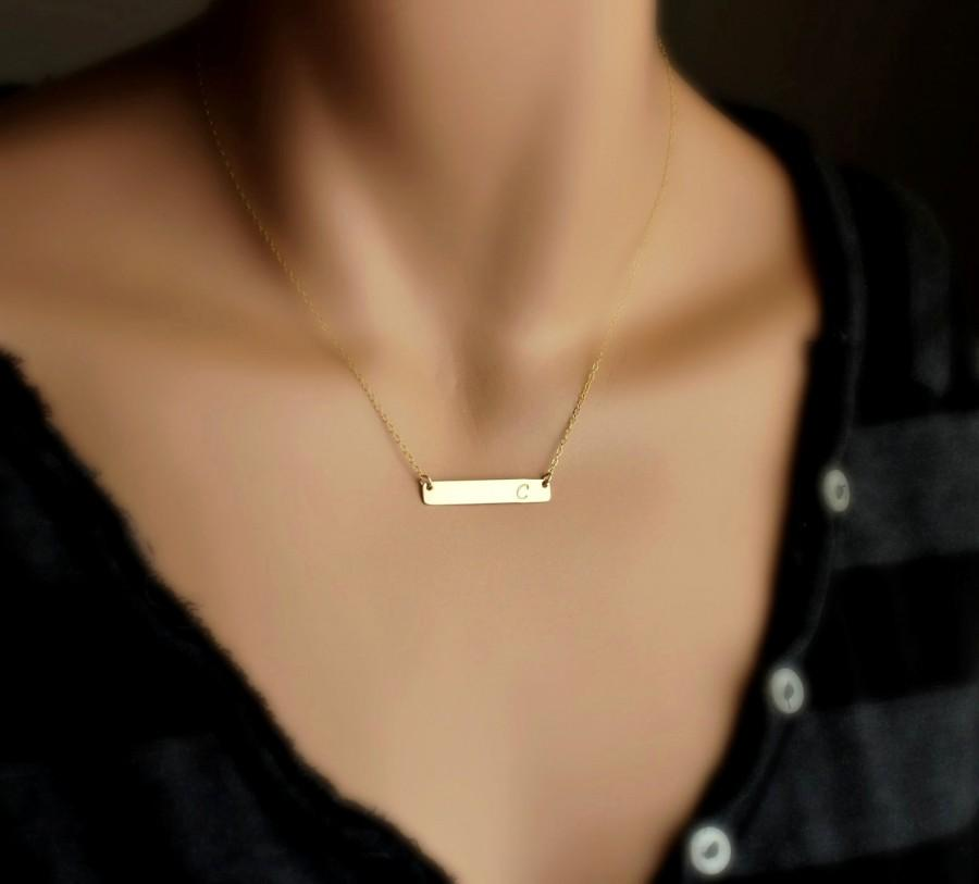 Hochzeit - Gold Bar Necklace, Personalized Name Plate Necklace / Delicate Horizontal Bar Necklace / Simple Nameplate Necklace Gold, Silver Initial