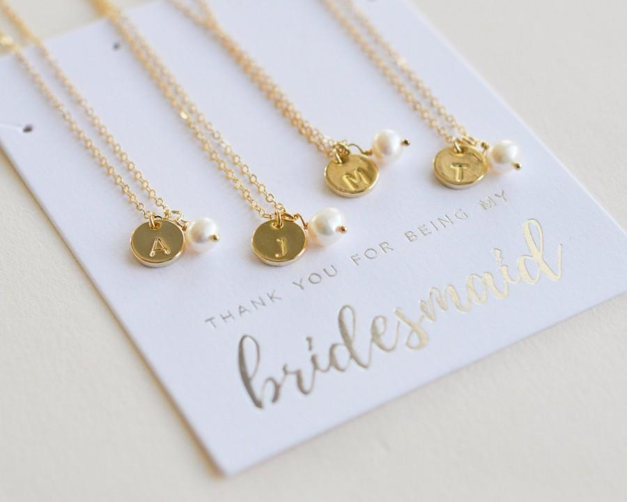 Wedding - Gold Pearl Bridesmaid Jewelry, Pearl Jewelry Bridesmaid Gift, Initial Necklace for Bridesmaid, Gold Bridesmaid Jewelry, Bridesmaid Gift,1711