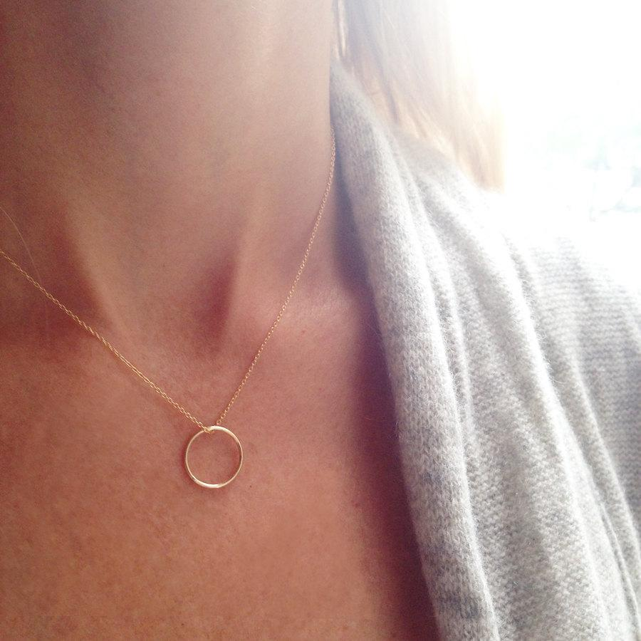 Wedding - Gold Circle Necklace, Minimal Necklace, Simple Gold Necklace, Infinity Necklace, Ring Necklace, Dainty Necklace, Layered Necklace