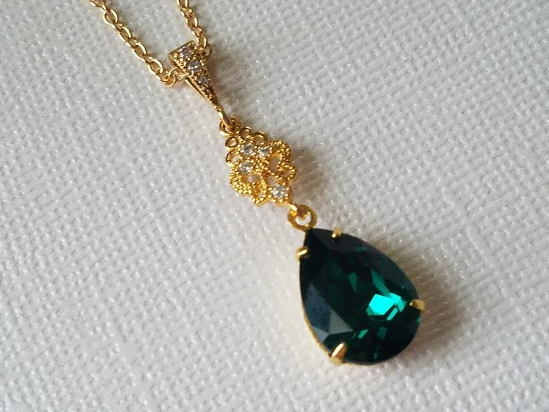 Свадьба - Emerald Gold Necklace, Green Teardrop Necklace, Swarovski Emerald Crystal Necklace, Wedding Emerald Jewelry, Bridal Emerald Gold Jewelry