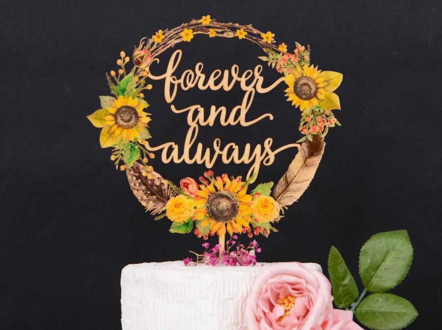 Wedding - Sunflower Wedding Cake Topper with Last Name, Personalized Mr Mrs Cake Topper For Wedding, Floral Boho Clip art Wreath Cake Topper VU040