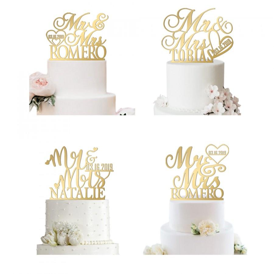 زفاف - Mr and Mrs Cake Topper, Acrylic Topper, Personalized Wedding Cake Topper, Wedding Topper Last Name, Mr and Mrs Cake Toppers for Wedding