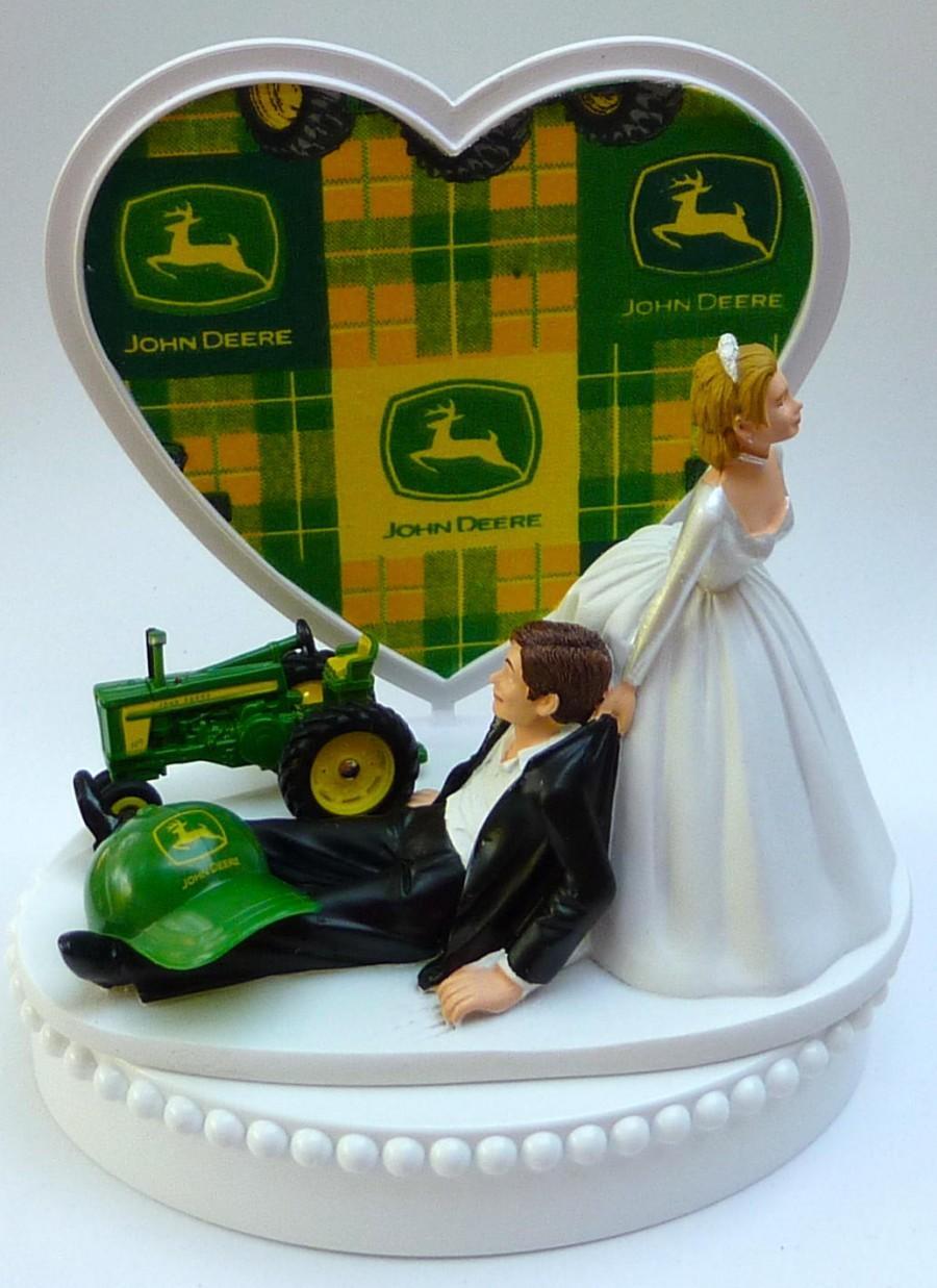 Hochzeit - Wedding Cake Topper John Deere Green Tractor Themed w/ Bridal Garter Farmer Farming Humorous Groom Bride Reception Fun Centerpiece w/ Garter