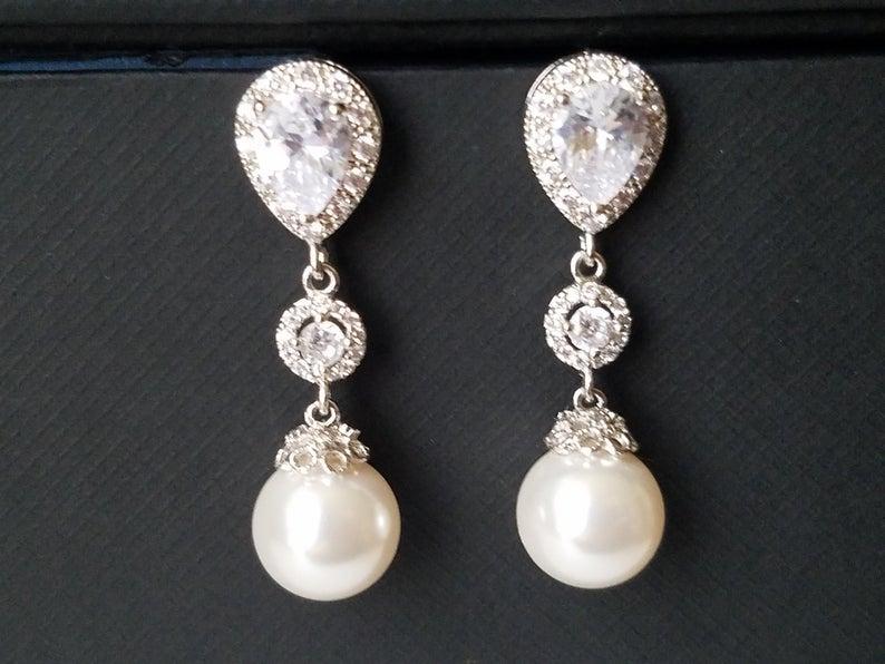 Hochzeit - Pearl Bridal Earrings, White Pearl Silver Earrings, Swarovski Pearl Dangle Earrings, Chandelier Pearl Bridal Earrings, Wedding Pearl Jewelry
