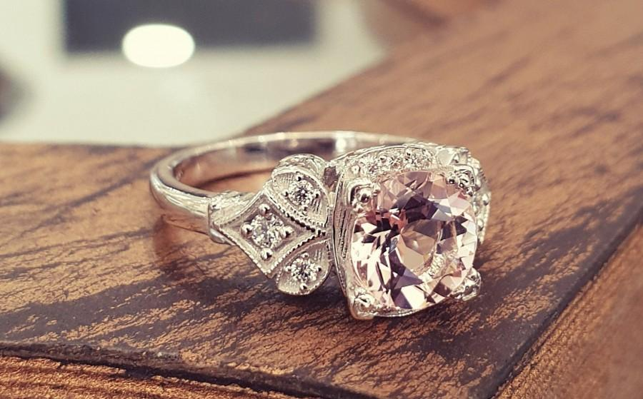 Wedding - Vintage Engagement Ring Pink Morganite 14k White Gold, Unique Engagement Ring For Women, Art Deco Ring