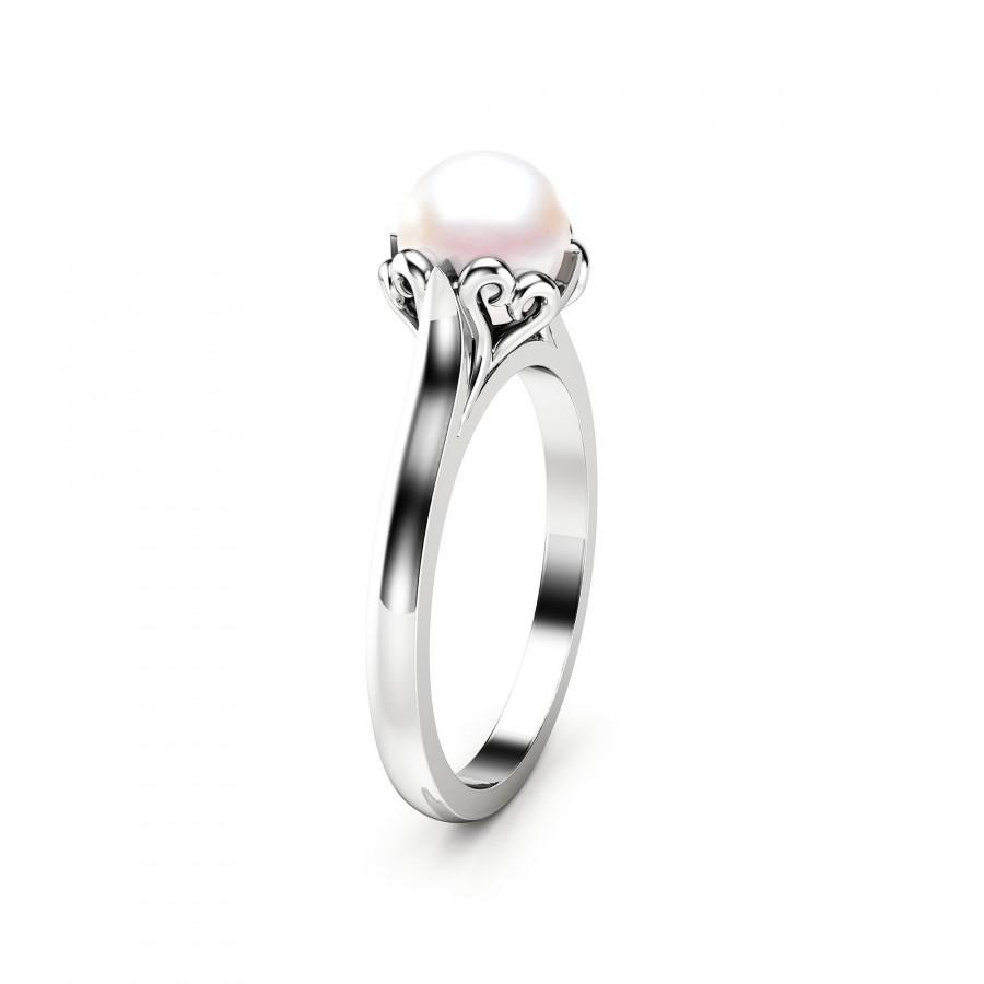 Свадьба - Pearl Engagement Ring White Gold Ring Solitaire Engagement Ring Gold Pearl Ring