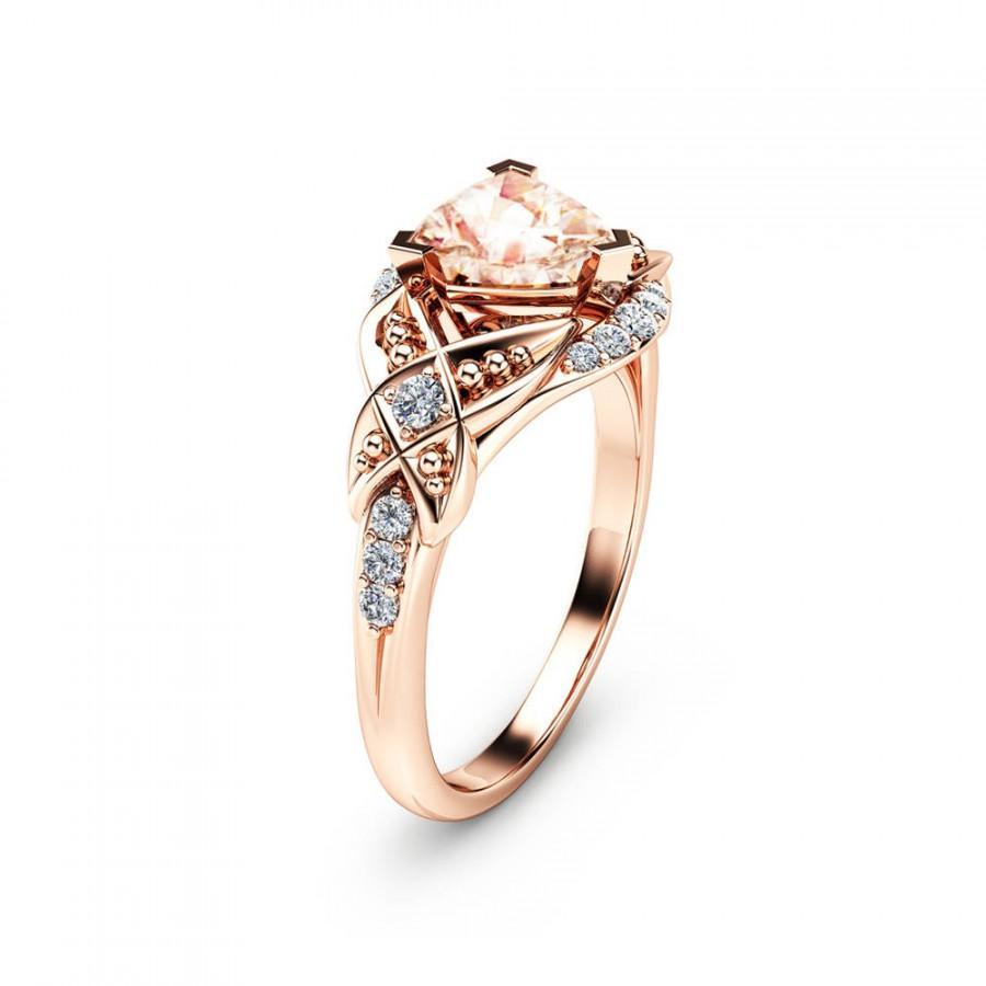 Hochzeit - Trillion Cut Morganite Engagement Ring 14K Rose Gold Engagement Ring Unique Trillion Morganite Ring