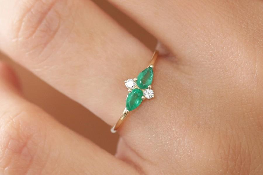 Wedding - Emerald Ring / 14k Emerald Gold Ring / Natural Emerald and Diamond  Ring / Pear Shape Genuine Emerald / Stack Ring / Birthstone Ring