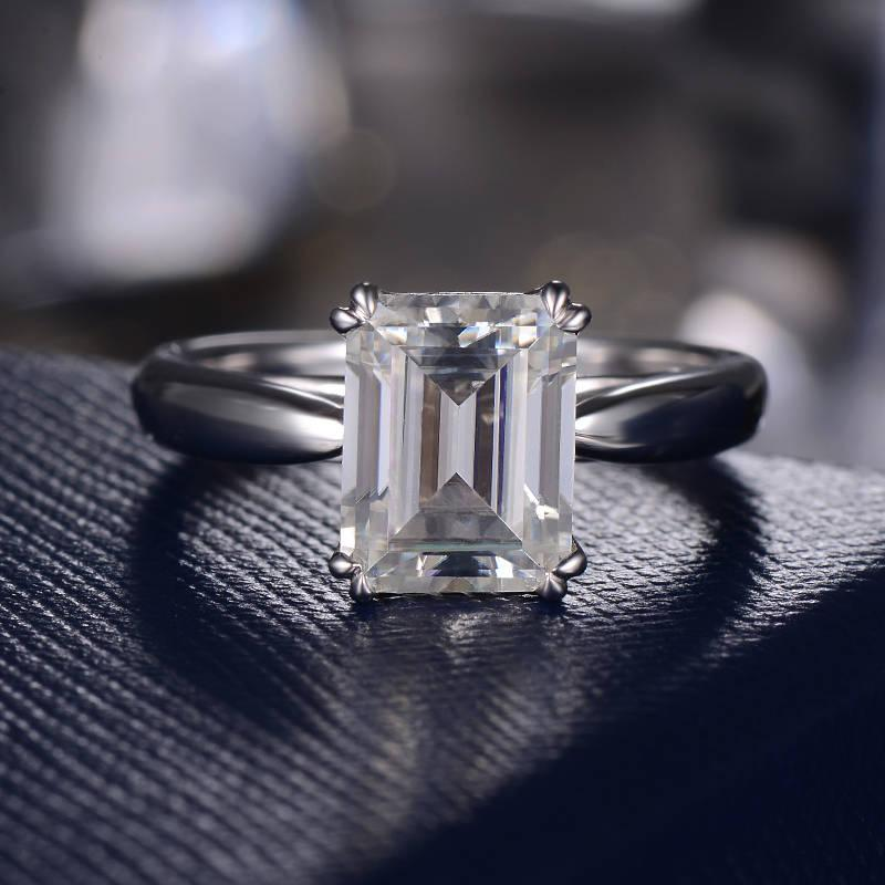 Hochzeit - Emerald Cut Moissanite Engagement Ring Unique Moissanite Wedding Bridal Ring Minimalist Simple Solitaire White Gold Ring Women Double Prongs