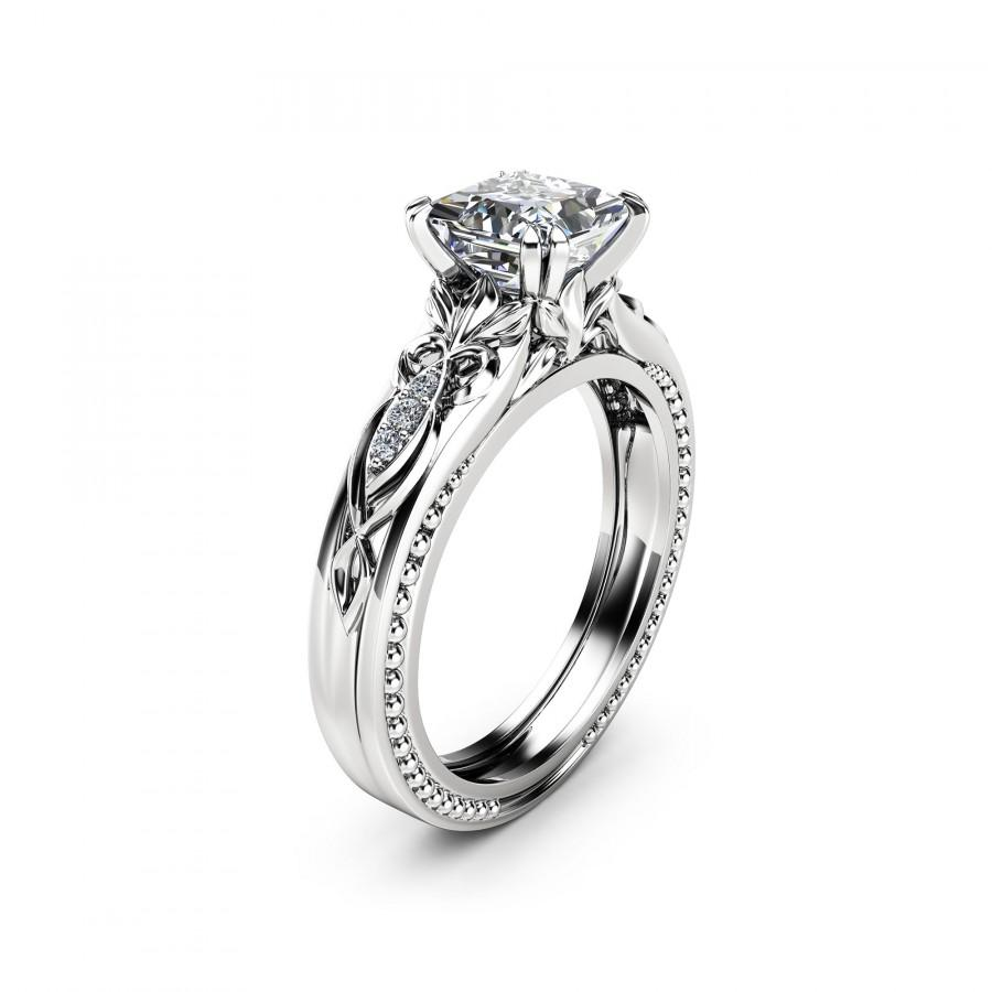 زفاف - Victorian Moissanite Engagement Ring 14K White Gold Milgrain Ring Princess Moissanite Engagement Ring