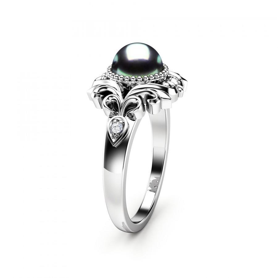 Wedding - Black Pearl Engagement Ring White Gold Ring Vintage Engagement Ring Gold Pearl Ring