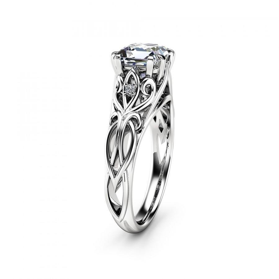 Wedding - Unique Princess Cut Moissanite Engagement Ring 14K White Gold Victorian Ring Unique Engagement Ring