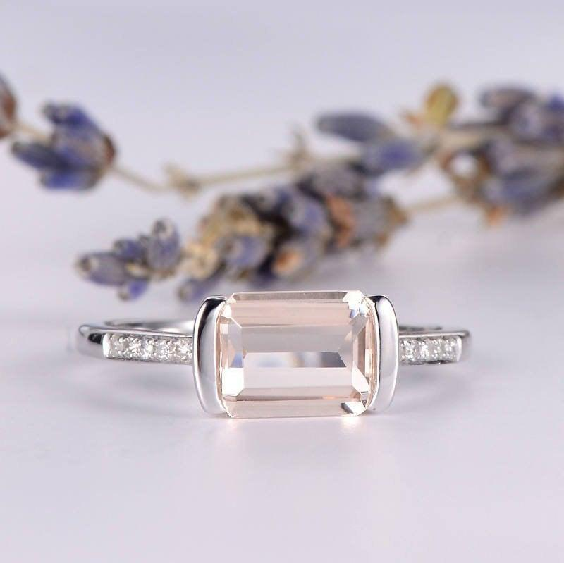 Wedding - Baguette Morganite Engagement Ring Channel Set Ring White Gold Half Eternity Diamond Anniversary Gift for Her Women Bridal Ring Promise