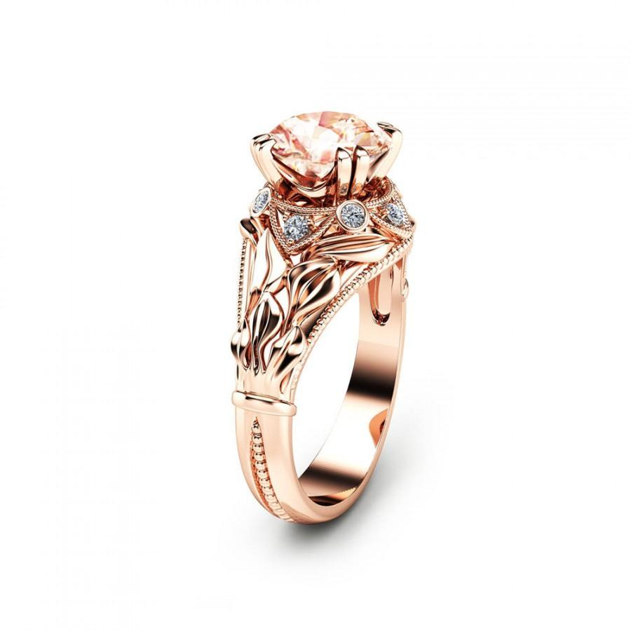 Свадьба - 2 Carat Morganite Leaf Engagement Ring Unique Peach Pink Morganite Ring in 14K Rose Gold Leaf Design Engagement Ring
