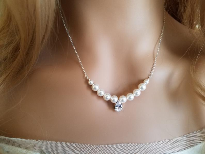 Wedding - White Pearl Bridal Necklace, Pearl Silver Wedding Necklace, Swarovski Pearl Dainty Necklace, Bridal Jewelry, Wedding Jewelry, Prom Necklace