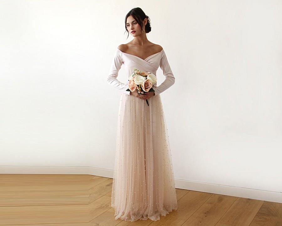 Wedding - Valentine's SaleOff-Shoulder Dress, Light Peach pearls tulle, Maxi Tulle Dress With pearl, Unique Bridesmaid Dress, 1178