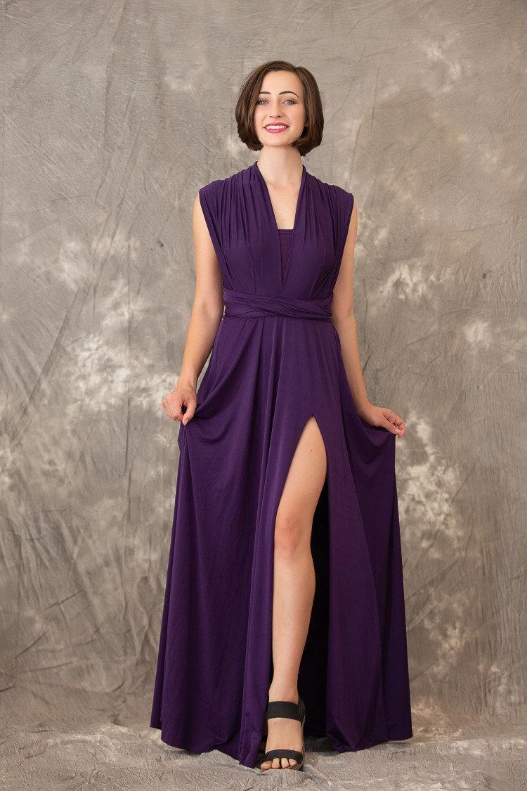 Wedding - Bridesmaid Dress with Slit , Infinity Dress, Wrap Convertible Dress.Party dress E style