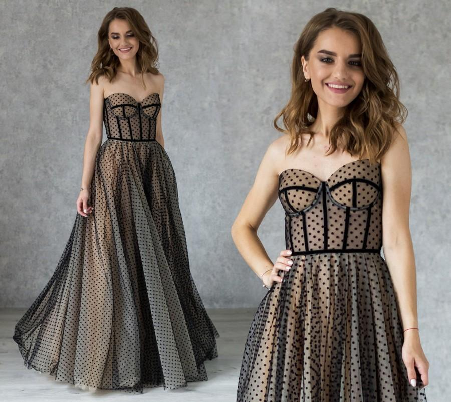 Wedding - Bohemian Evening Dress with Built-in Bra / Nude color lining black dress / Sexy party gown / Polka-dot evening dress / Prom black dress