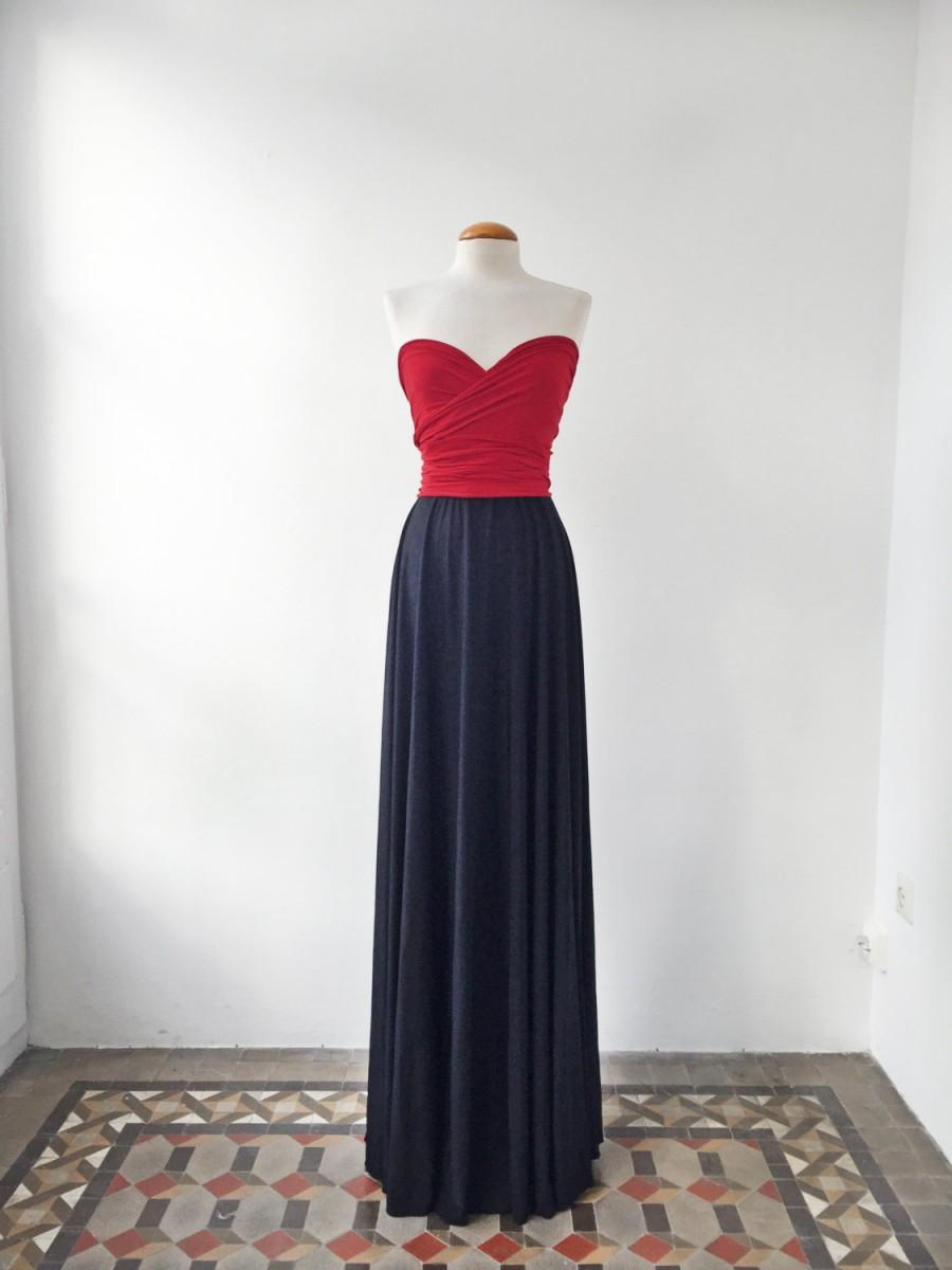 Wedding - Navy blue bridesmaid dress, dresses, navy and red dress, bridesmaid long dress, wedding palette, red long dress, navy red bridesmaid dresses