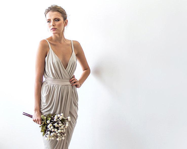 Wedding - Valentine's SaleBridesmaids Champagne wrap maxi dress 1033 for Alynnia