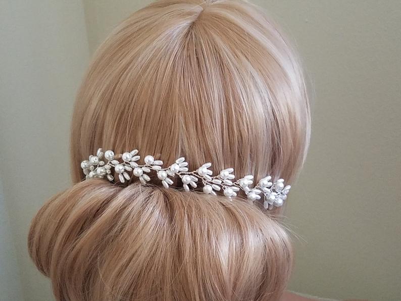 Wedding - White Pearl Bridal Hair Vine, Wedding Hair Piece, Bridal Pearl Headpiece, Wedding Hair Jewelry, Dainty Pearl Hair Vine, Wedding Hairpiece