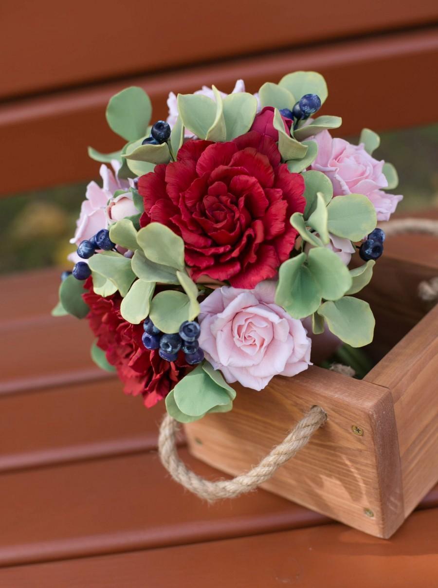 Mariage - Woodland peony bouquet - Alternative fall burgundy bouquet - Forest wedding bouquet