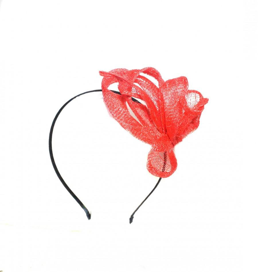 Mariage - Red small fascinator for summer, wedding headpiece, smart cocktail hat