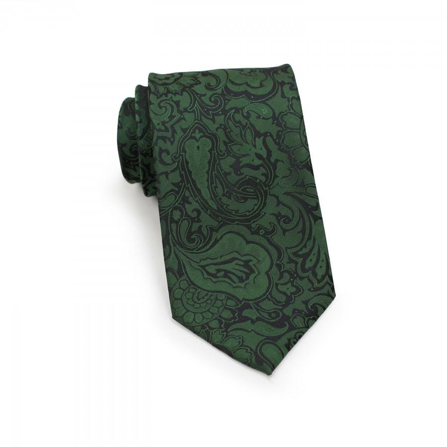 Mariage - Forest Green Paisley Tie